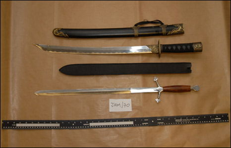 Weapons recovered from the home of Martyn Gilleard
