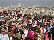 Bishops attend a service on the Mount of Olives (picture copyright: Daniel Clarke)