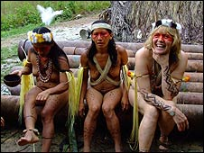 Karen with two women from the tribe