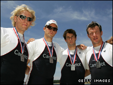 Great Britain coxless fours - left to right Andrew Hodge, Peter Reed, Tom James and Steve Williams