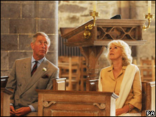 Prince Charles and the Duchess of Cornwall in St Davids Cathedral