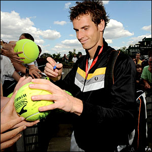 British number one Andy Murray meets his fans at Wimbledon