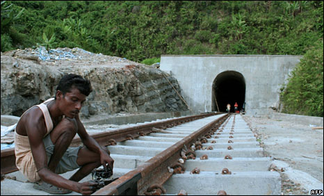 Construction of the railway track in Tripura