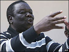 Morgan Tsvangirai, leader of the main opposition party in Zimbabwe gestures at a press conference in Harare, Sunday, June, 22, 2008. Tsvangirai announced he was withdrawing