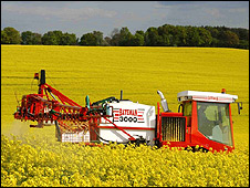 Crop-spraying in Chesham, UK (file pic)