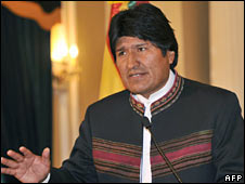 Evo Morales in a file photo from 16 June 2008