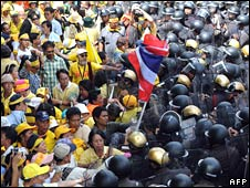 Thai protesters from the People's Alliance for Democracy protest in Bangkok on 20 June