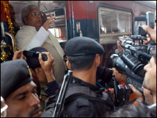 Railway Minister Laloo Yadav at the trial run of the train in Kashmir (Photo: Nissar Ahmad)