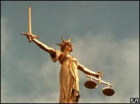Statue of the Scales of Justice on the Old Bailey building