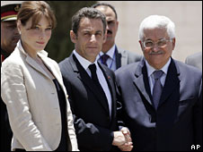 Carla Bruni and Nicolas Sarkozy in the West Bank, 24 June