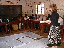 Teacher Marian Gibb runs a training session with Malawian teachers (pic by Liz Charles)