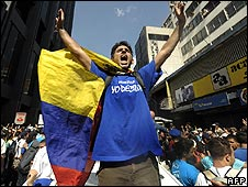 "student shouts slogans during a demonstration supporting the ""right to choose"" and ""freedom of expression"" in Caracas"