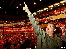 Hugo Chavez at a rally