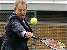 Tony Blair playing tennis in 2005