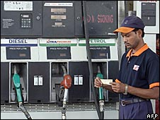 Indian petrol station worker