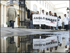 Action Aid hold a demonstration outside the Anglo American company AGM