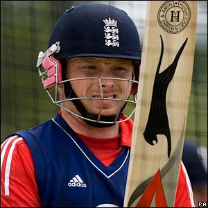 England's Ian Bell, during net practice