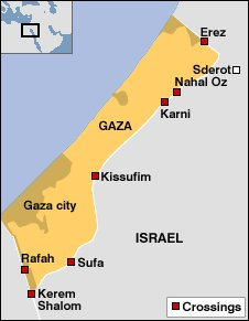 Map of Gaza showing border crossings