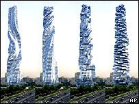 Imagen 3D de las transformaciones en la Torre Dinámica