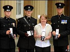 Private Luke Cole, Captain Simon Cupples, Sue Brelsford and Corporal Michael Lockett
