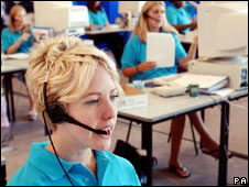 Female call centre staff