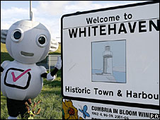 Digital TV mascot Digit Al in Whitehaven