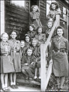 Black and white picture of girl guides