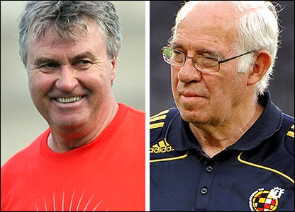 Russia coach Guus Hiddink (left) and Spain's Luis Aragones