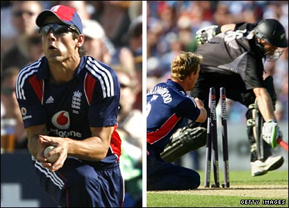 Jacob Oram is caught on the square leg boundary by substitute fielder Alastair Cook (left), while Scott Styris is run out by Paul Collingwood (right)