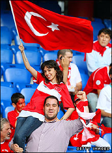Turkish fans create a lively atmosphere in the ground