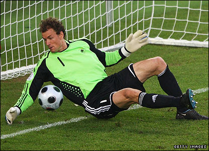 Germany are stunned as Jens Lehmann fails to prevent Ugur Boral's effort crossing the line