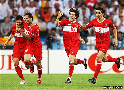 Turkey's players celebrate taking the lead
