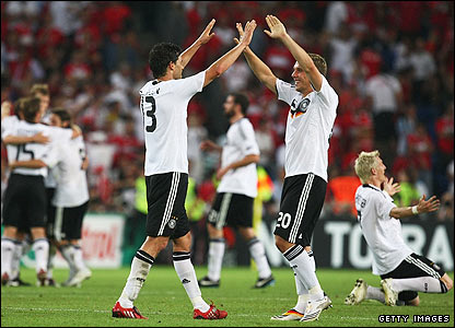 Germany's players celebrate their win