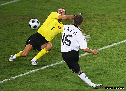 Germany's Thomas Hitzlsperger fires a superb winner past Rustu