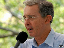 President Alvaro Uribe (file image)