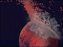 Representación artística del impacto gigante que creó la dicotomía marciana (Fuente: Jeff Andrews-Hanna)