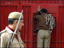 Police outside India prison