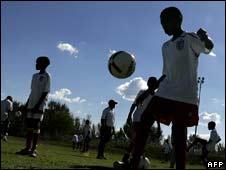 Children playing football
