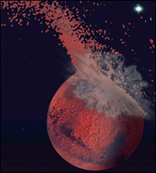 Artist's impression of Mars impact (Jeff Andrews-Hanna)