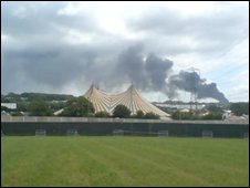 Fire near Glastonbury site
