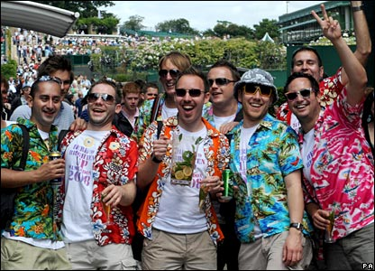 Wimbledon-goers in fancy dress