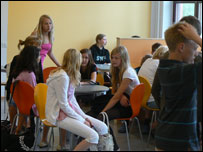 Students relax in the cafeteria