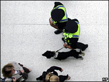 Sniffer dog with police officers