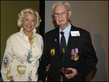 Cyril Merle with Honour Blackman