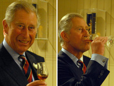 Prince Charles samples the whisky
