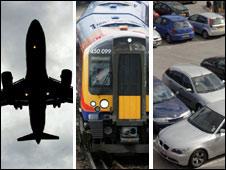 Plane, train, car