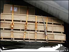 Cargo going into plane