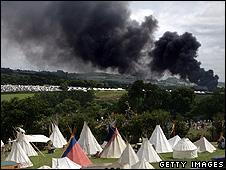 Fire near Glastonbury site