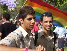 Men at Jerusalem Gay Pride