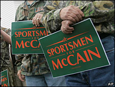 "McCain-supporting hunters carrying ""Sportsmen for McCain"" banners"